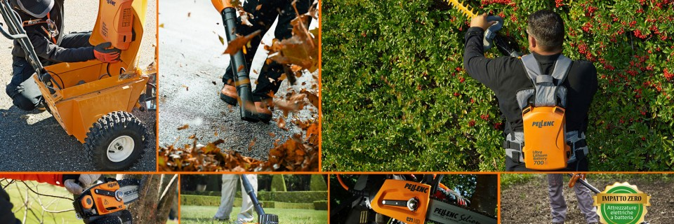 """Filosofia """"green"""" ad impatto zero:  utilizziamo attrezzatura a batteria"""